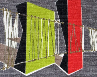 Cosmic Abstractism Architectural Bridges 50's VTG Barkcloth Fabric Retro MCM Pillow Cushion Piece Remnant Upholstery Rattan Bamboo Modern
