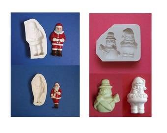 Lot moules en silicone 4 formes Noël pour décoration loisirs créatifs