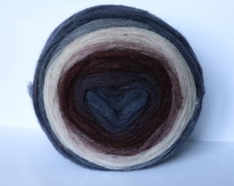 Self Striping Chunky Wool Pencil Roving, for Knitting, Crocheting, Spinning or Felting, Purple, denim blue, white gradient