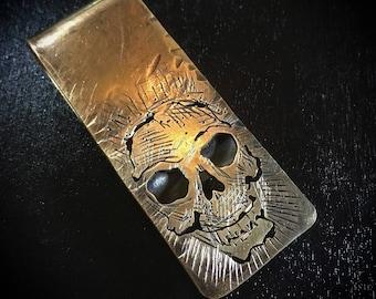 Brass hand made skull money clip-  One of a kind memeto mori #5