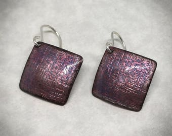 Opalescent purple enamel square earrings
