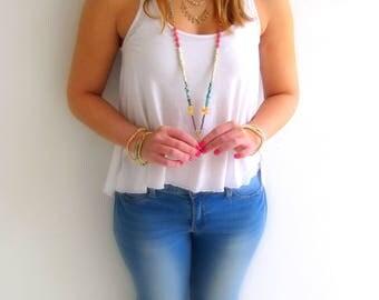 Multi stone necklace, Colorful necklace, Multi color necklace, Boho crystals necklace, Mala necklace, Long Boho necklace, Long gems necklace