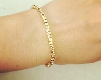 Gold bracelet, Everyday gold bracelet, Minimalist bracelet, Dainty bracelet, Gold filled bracelet, Layered gold bracelet, Nuggets bracelet