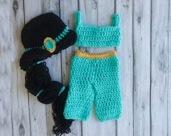 Princess Jasmine inspired outfit, Princess Jasmine costume, Princess Jasmine photo prop, Jasmine halloween costume, baby girl outfit