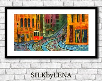 City art  Fine Art Print Prague painting Europe Painting  Giclee art Print wall art print silk painting cityscape  print modern fine art