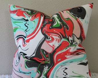 "BOTH SIDES - Kravet Marble Swirl Print Designed by Kate Spade(TM) in the Multi Colorway - 16"" - 24"" Square or Lumbar - Decorative Pillow"