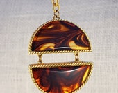 30% OFF SALE Vintage Modernist Large Estee Lauder Tortoise Shell and Gold Tone Perfume Pendant Necklace