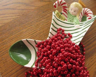 See Christmas IDEAS & Starting TRADITIONS With Kids Using This Vintage Ceramic Kitschy Mid Century Stocking Dish Doll Candy Canes Toys Hang