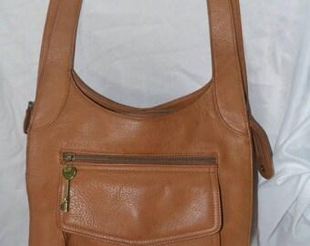 June Savings FOSSIL Bag~Fossil  Shoulder Bag~ British Tan Bag~Leather Bag~Fossil Sale