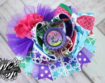 Baby Bows, Toddler Bows, Girls Hair Bows, Boutique Bow, OOAK One of a Kind Over the Top Bow, Mermaid Stars Hair Bow, 6 Inch Hair Bow