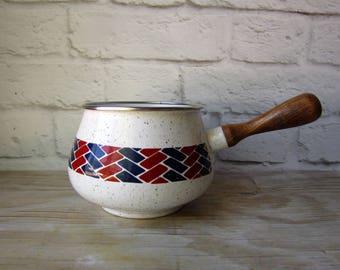 Vintage Enamelware - Geometric Enamel Sauce Pan Modern Kitchen