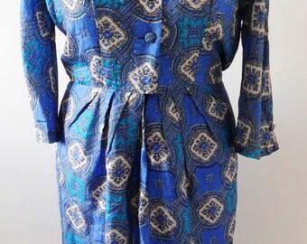1960s Vintage Silk Tea Dress by Peter Barron (Large)