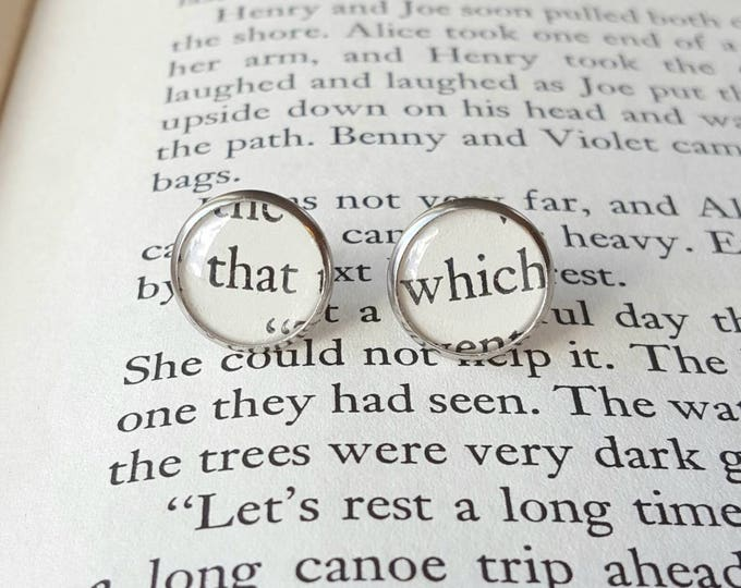 Good Grammar Earrings - That / Which - Stainless Steel - Bookish Earrings - Vintage Book Pages - Bookish Jewelry - Librarian Earrings