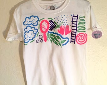 Hand Painted Youth XS T-Shirt 〰 One of a Kind Painted Kids Clothing 〰 Created by Sam Pletcher