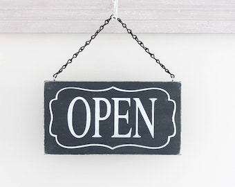 Open Closed Business Sign, Office Sign, Store Sign, Salon, Open Custom Sign, Wall Art, Hanging Wood Sign