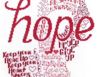 LET'S HOPE - Imaginating Cross Stitch Pattern - Breast Cancer Cross Stitch Pattern - Counted Cross Stitch Ribbon
