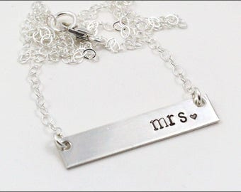 Custom Sterling Silver Wedding Necklace | Mrs. Necklace, Bride to Be Necklace, Gift for Bride, Silver Bar Necklace