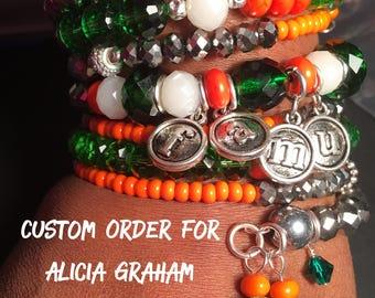 Custom Listing for Alicia Graham - FAMU Snake Bracelet