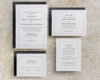 Formal Wedding Invitations, Traditional Wedding Invitations, Black and White Invitations, Formal Invitations, Formal Wedding, SAMPLE
