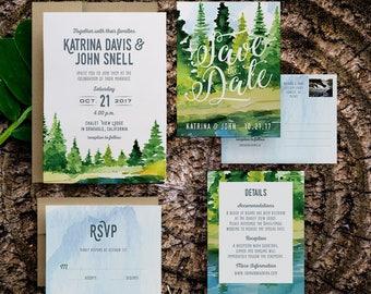 wedding weekend invitation, watercolor rustic wedding invitation, rustic mountain wedding invitations, woodland wedding invitation, printed