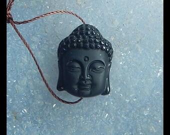 New,Carved Obsidian Buddha Head Gemstone Pendant Bead,21x16x11mm,5.8g
