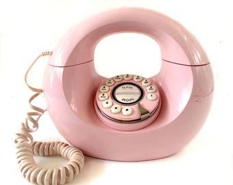Pink Vintage Phone, Donut Phone, Mid Century Phone, Pink Retro Phone, Rare