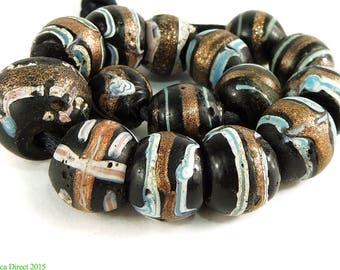 15 Fancy Venetian Trade Beads Black Aventurine African 93752