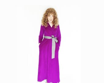 Winter Robe for Women Long Wrap Robe Softest Purple Fleece Bath Robe Vintage Loungewear Classy Cozy Plush Lounger Maxi Robe with Pockets