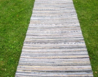 Extra long ,Hand woven rag runner rug, Scandinavian Style,  2.56 feet by 14.23 feet (78cm x 434cm)  colors grey rock, ready for sale