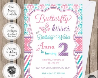 Butterfly Birthday Invitation, Girl Butterfly theme, girls birthday, Butterfly Kisses and Birthday Wishes, pink, blue and purple invitation