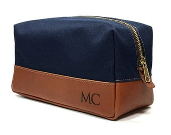 Groomsmen Gifts - Engraved Leather Dopp Kit - Navy & Tan