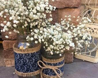 Mason Jar Wrap, Western, Bandana, Cowgirl, Cowboy, Barn, Wedding, Shower, Party, Centerpiece, Decoration
