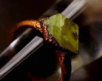 Pretty little peridot electroformed Ring-  electroforming - peridot - Copper Ring - statement Ring - UK - Birthstone - rough stone ring.