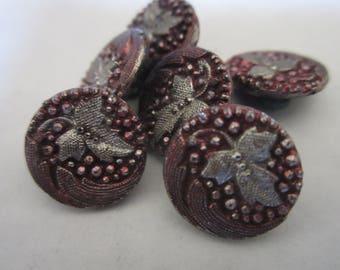 Antique Victorian Cranberry Leaf Buttons