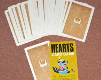 Vintage HEARTS Card Deck Playing Cards Game by Whitman Gold Back