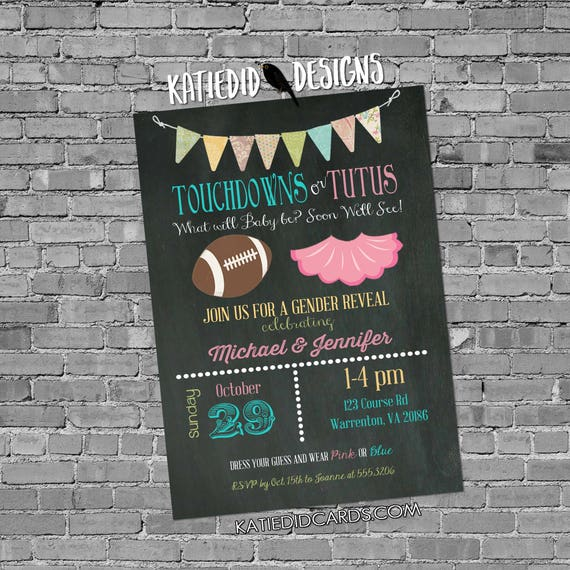 touchdowns or tutus gender reveal chalkboard chic invitation diaper wipe brunch football co-ed baby shower surprise 1431 Katiedid Designs