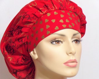 Bouffant Surgical Scrub Hat - Red & Gold Metalic Heart Headband Valentines Day  Heart Awareness Valentines Day