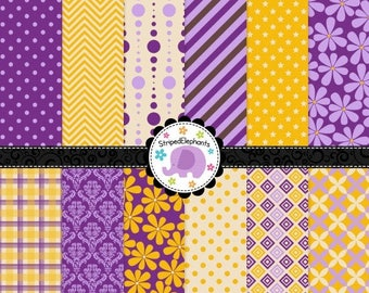 40% OFF SALE Yellow and Purple Digital Paper Pack, Digital Scrapbook Paper, Printable Paper, Instant Download, Commercial Use