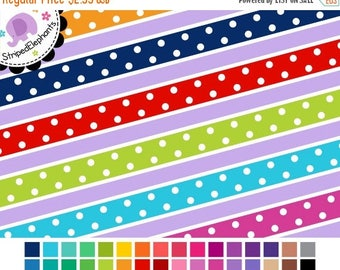 40% OFF SALE Colorful Dotty Digital Ribbons - Digital Border - Instant Download - Commercial Use
