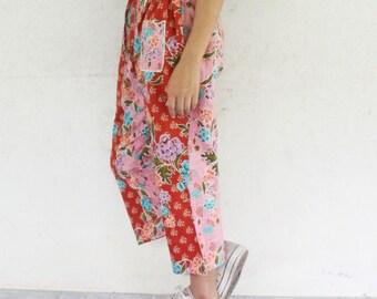 3/4 Hand made  Thai traditional print  harem  pants and elastic waist,spa, yoga,hippie pants.