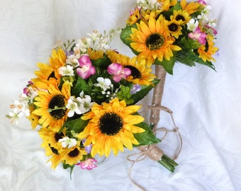 17 piece sunflower wedding country wedding sunflower bouquet set twine wrap country chic bouquet
