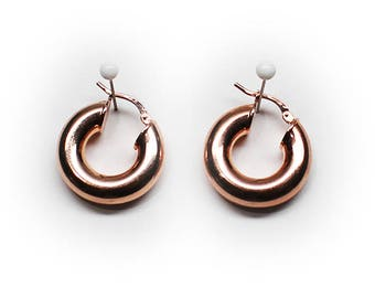Sterling Silver Tubing Hoop Earrings with Rose Gold Finish and Latch Lock