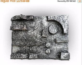 ON SALE Metallic Silver Abstract Original Painting Super Heavy Textured Pallet Knife Art- Abstract in Silver No. 2 -18 x 24- by Skye Taylor