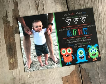 PRINTED Little Monster Invitations, lot of 25
