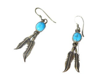 Vintage Turquoise & Sterling Silver Southwestern Feather Earrings #2425