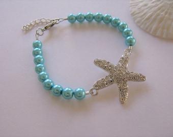 Bridesmaid Jewelry Aqua Blue Pearl Rhinestone Starfish Bridesmaid Bracelets  Starfish Wedding Jewelry