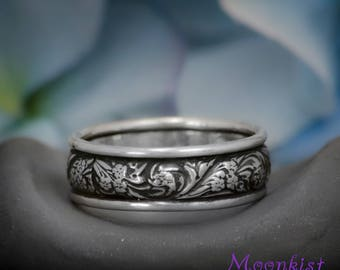 Wide Wildflowers Wedding Band in Sterling - Silver Flower Pattern Anniversary Band - Florentine Style Floral Bridal Promise Ring
