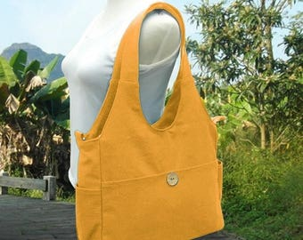 On Sale 20% off Golden canvas diaper bag, canvas tote purse, womens purse, shoulder bag,  crossbody messenger bag for men and women