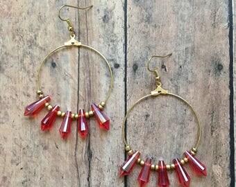 Gorgeous orange spike beaded dangle earrings