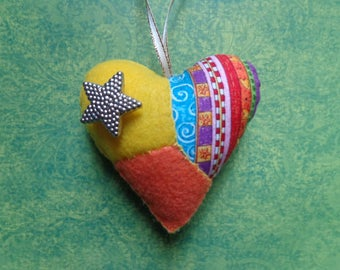 Yellow and Orange Patchwork Heart Ornament by Pepperland